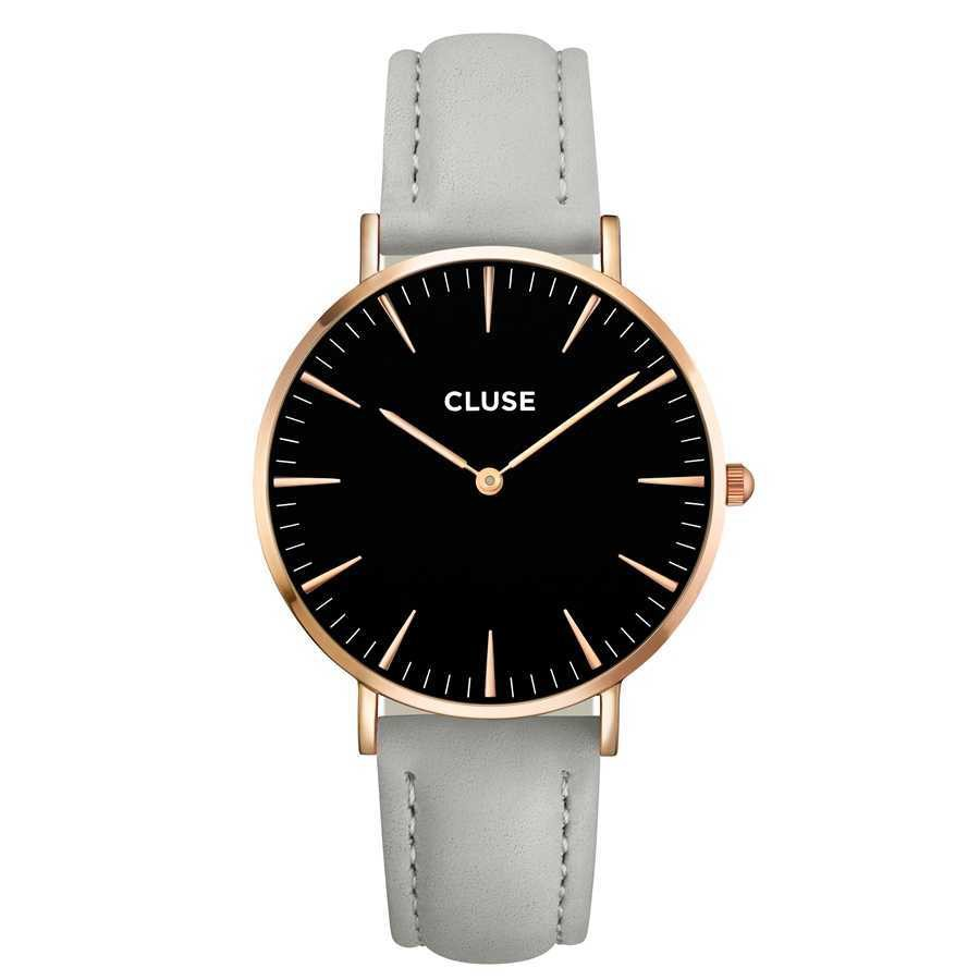 Afbeelding van CLUSE La Bohème Rose Gold Black/Grey horloge CL18018 dameshorloge Grijs