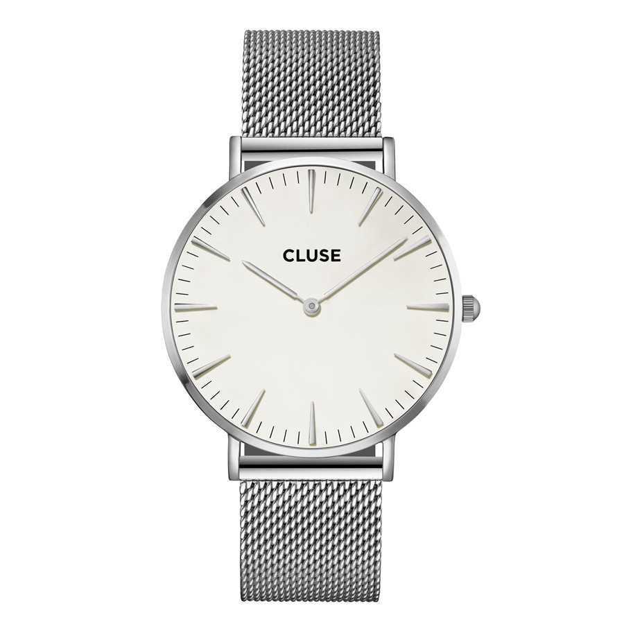 Afbeelding van CLUSE La Boheme Mesh Zilverkleurig/Wit 38mm Horloge CL18105
