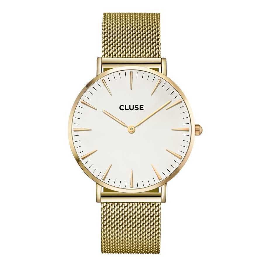 Afbeelding van CLUSE La Boheme Mesh Goudkleurig/Wit 38mm Horloge CL18109