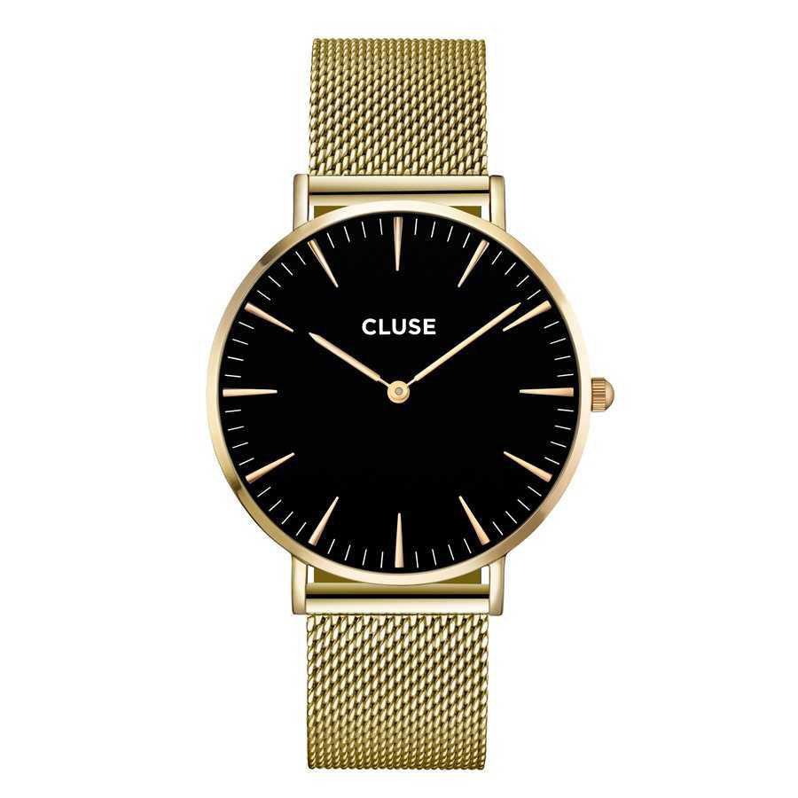 Afbeelding van CLUSE La Boheme Mesh Goudkleurig/Zwart 38mm Horloge CL18110