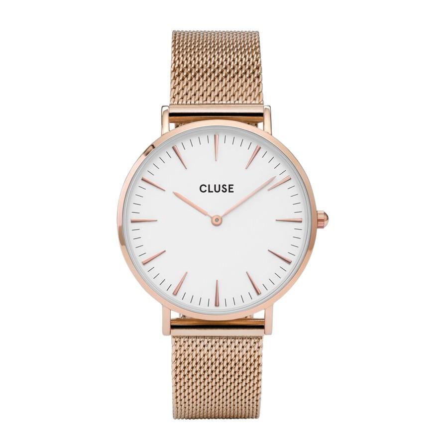 Afbeelding van CLUSE La Boheme Mesh Rosegoudkleurig/Wit 38mm Horloge CL18112