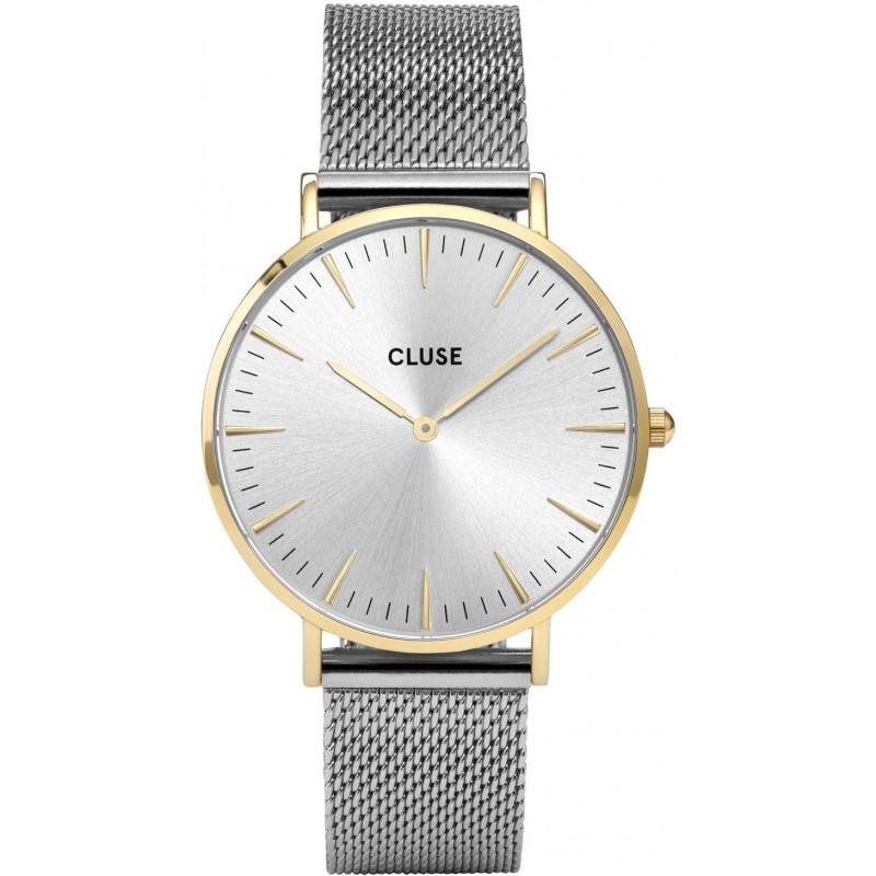 Afbeelding van CLUSE La Boheme Mesh Goudkleurig/Zilverkleurig 38mm Horloge CL18115