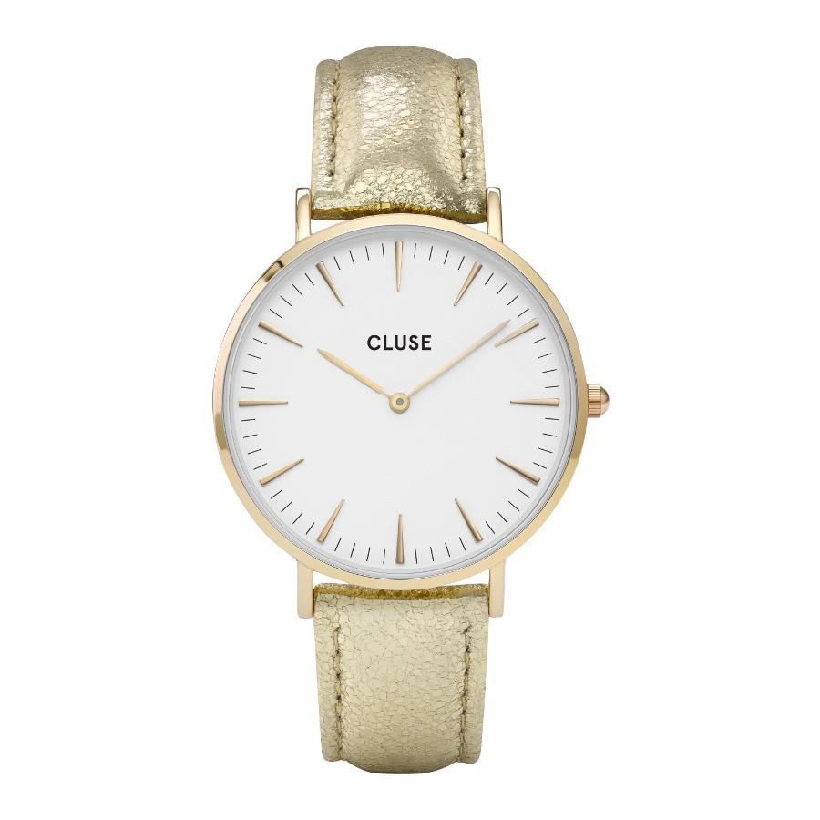 Afbeelding van CLUSE La Bohème Gold White/Gold Metallic CL18421 dameshorloge horloge Wit