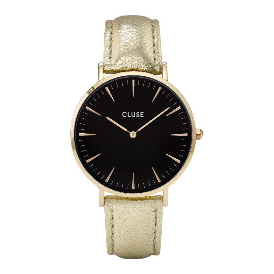 Afbeelding van CLUSE La Bohème Gold Black/Gold Metallic CL18422 dameshorloge horloge Zwart