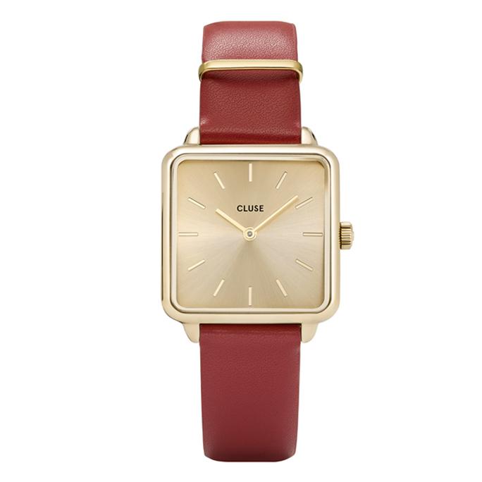 Afbeelding van CLUSE La Tétragone Goudkleurig/Rood 29mm horloge CL60009