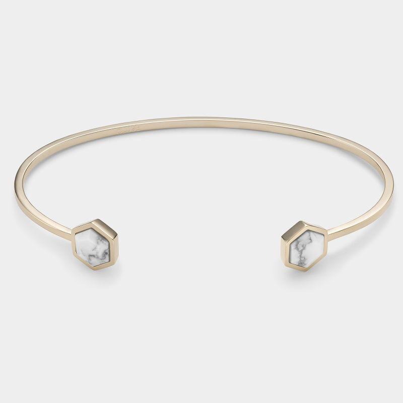 Afbeelding van CLUSE Idylle Goudkleurige Marble Hexagon Open Cuff Armband CLJ11003
