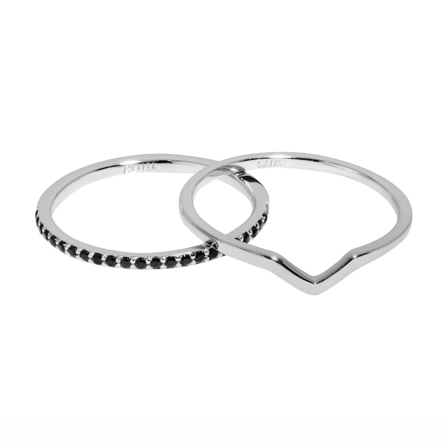 Afbeelding van CLUSE Essentielle Set Chevron and Black Crystal Ring CLJ42004 52 (Maat: 52)