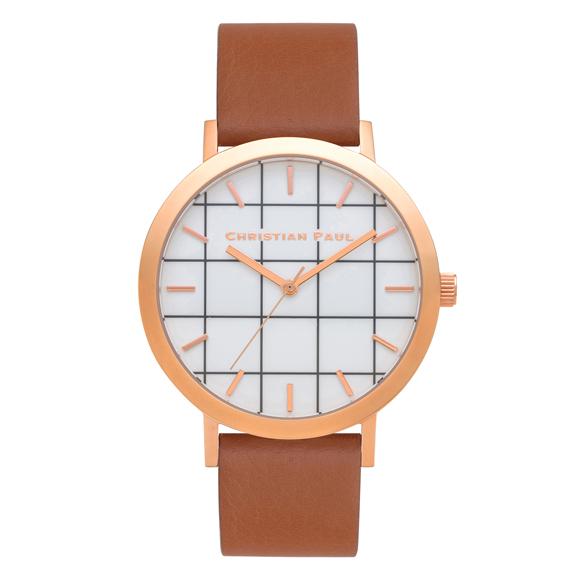 Afbeelding van Christian Paul Avalon Grid 43 MM Rose Gold / Tan horloge