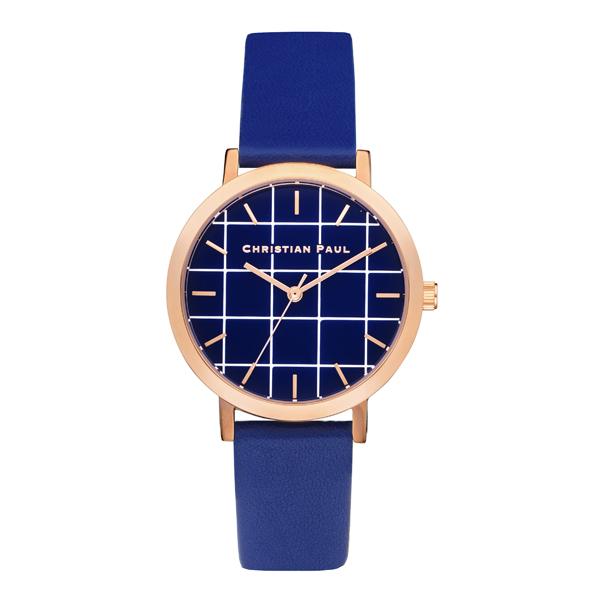 Afbeelding van Christian Paul Balmoral special edition Grid 35MM Rose Gold / Blue horloge