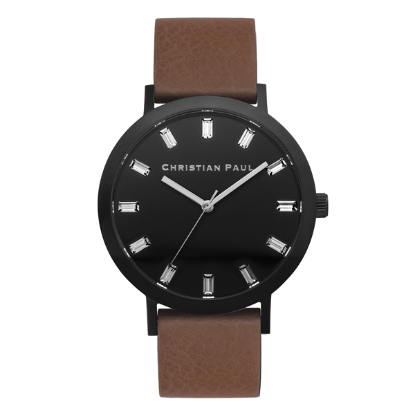 Afbeelding van Christian Paul Bridport Luxe 43 MM Black / Brown horloge