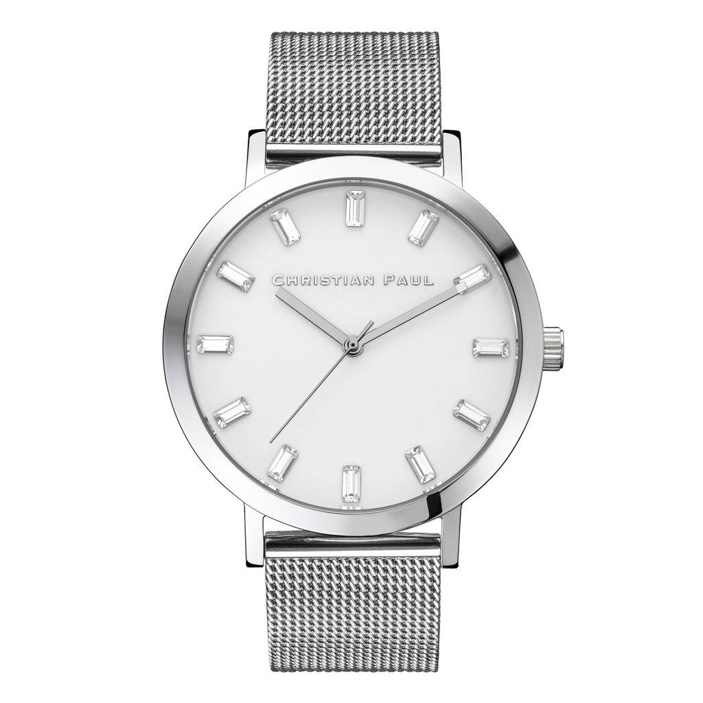 Afbeelding van Christian Paul Hayman Luxe Mesh 43 MM Silver / White SWM 03 horloge